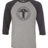 3/4 Length Beer City Baseball T-shirt in Charcoal Gray and Light Gray