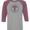 3/4 Length Beer City Baseball T-shirt in Gray and Maroon