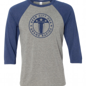 3/4 Length Beer City Baseball T-shirt in Gray and Navy