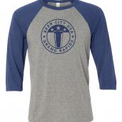 3/4 Length Beer City Baseball T-shirt in Gray and Navy